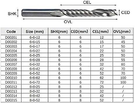 Fr/äser f/ür PVC Acryl Wolframcarbid Schaftfr/äser XBF-TOOL 6x6x12 1 Fl/öte Werkzeugfr/äser 8 mm Schaft 6 mm Schaft Gravur CNC-Fr/äser