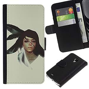 KLONGSHOP // Tirón de la caja Cartera de cuero con ranuras para tarjetas - Chica nativo americano - Samsung Galaxy S4 Mini i9190 //