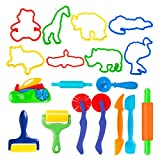 Deardeer Set of 18 PCS Dough Tools Kit with Animal Molds and Models Cutters Dough Playsets Accessories for Kids