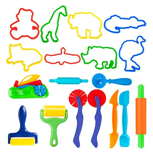 Deardeer Set of 18 PCS Dough Tools Kit with Animal Molds and Models Cutters Dough Playsets Accessories for Kids by Dear Deer