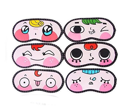 Flyusa 6 Pcs Cute Cartoon Sleeping Eye Face Mask Cover Funny