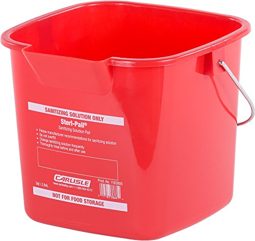 Pail Red Sanitizing (Carlisle 1182805 Square Steri Pail, 3 quart, 5.75