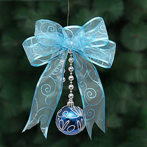 Gotian Pretty Christmas Mesh Bow Ribbon Tree Xmas Iron Ball Party Wedding Window Ornament Decoration (Blue) from Gotian