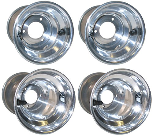 "NEW KEIZER KW2 5"" ALUMINUM WHEEL SET FOR DIRT KARTING & QUARTER MIDGETS, POLISHED FRONTS & REARS, FOR DIRT GO CARTS, DIRT CHAMP KARTS, DIRT QUARTER MIDGETS, & SIMILAR APPLICATIONS"
