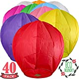 Chinese Lanterns 40-Pack Multi-Color, Fully Assembled and Fuel Cell Attached is 100% Biodegradable, New Designed Sky Lantern with Gift Box Coral Entertainments for Any Occasion. (Multi-Color)
