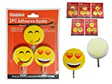 3 PC Smiley Adhesive Hooks Size: 2'' Dia , Case of 144