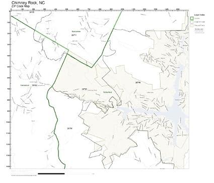 Amazon.com: ZIP Code Wall Map of Chimney Rock, NC ZIP Code Map Not on