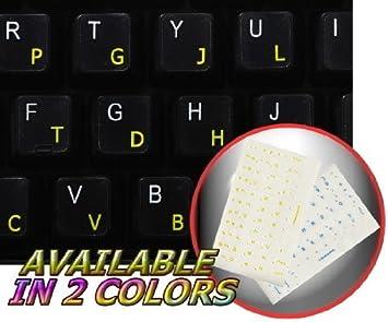 COLEMAK - Adhesivo para teclado con letras amarillas sobre ...