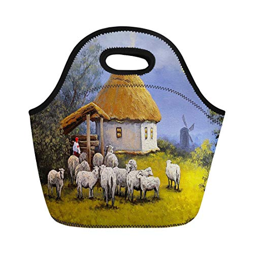 Semtomn Lunch Bags Green Paint Beautiful Landscape Village Sheep Oil Paintings Fine Neoprene Lunch Bag Lunchbox Tote Bag Portable Picnic Bag Cooler Bag