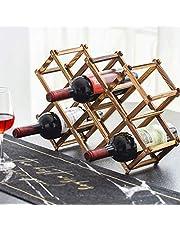 Foldable Wood Wine Rack 10-Bottle Holder Storage Display Table Free Standing Rustic Wooden Racks Countertop Decor Organizer - Carbonized Wood