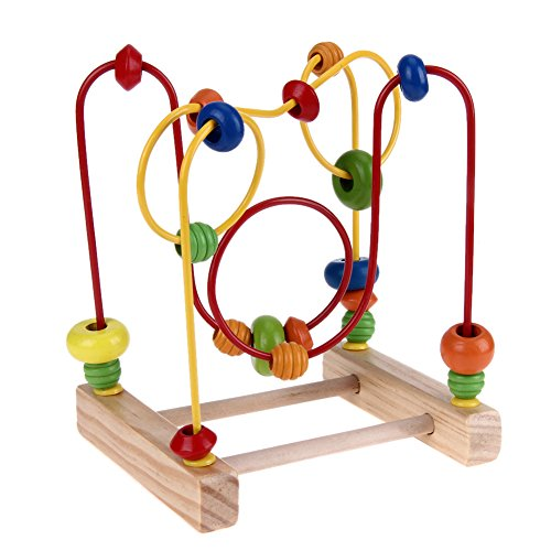 Kasstino Wooden Baby Math Toys Classic Bead Maze Counting Circles Bead Abacus Wire Maze Roller Coaster Wooden Montessori Educational Toys for Baby Kids Chilrden ()