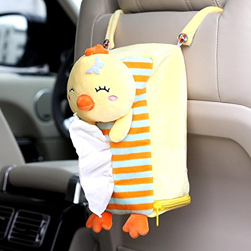 seemehappy Cute Plush Lucky Cat Tissue box Cover Car Seat Mounted Tissue Box Cover (Yellow Chick)