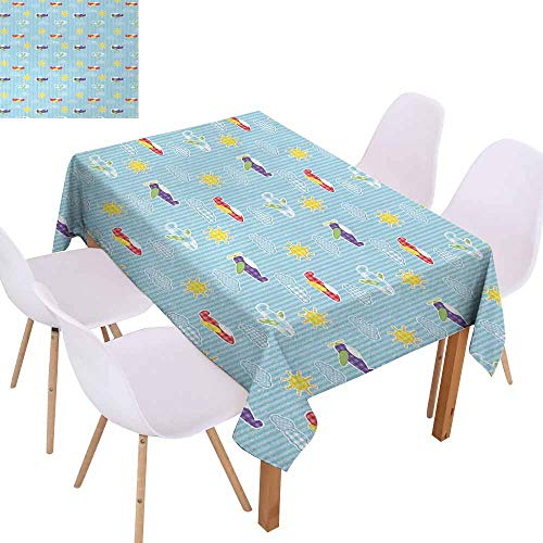 UHOO2018 Airplane,Decorative Table Cover,Patchwork Style Baby Boy Kids Pattern Transportation Travel Icons on Blue Strips,for Kitchen Tabletop Decoration,Multicolor,50