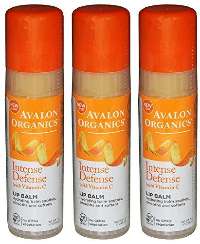 Avalon Organics Intense Defense with Vitamin C Lip Balm Pack of 3