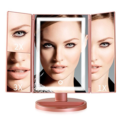 Makeup Mirror with Lights,2x/3x Magnification, Trifold lighted makeup Mirror, Touch Screen vanity mirror with lights, 180° Adjustable Rotation, Dual Power Supply,Countertop Cosmetic Mirror (Rose Gold) For Sale
