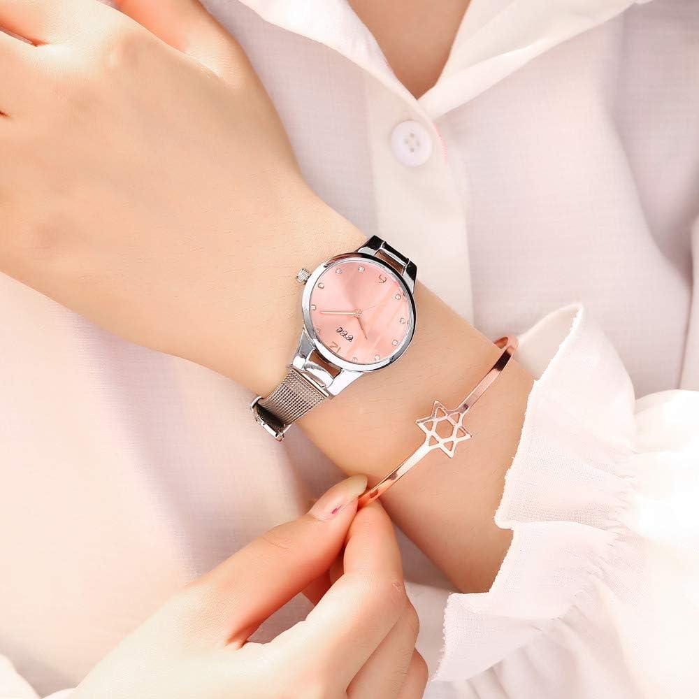 Femmes Montre Femmes Montre De Femmes Cadran Vert Bracelet Quartz Montre De Mode en Métal Argent Ceinture De Mode Creative Robe Dames Montres Femmes Cadeau Rose