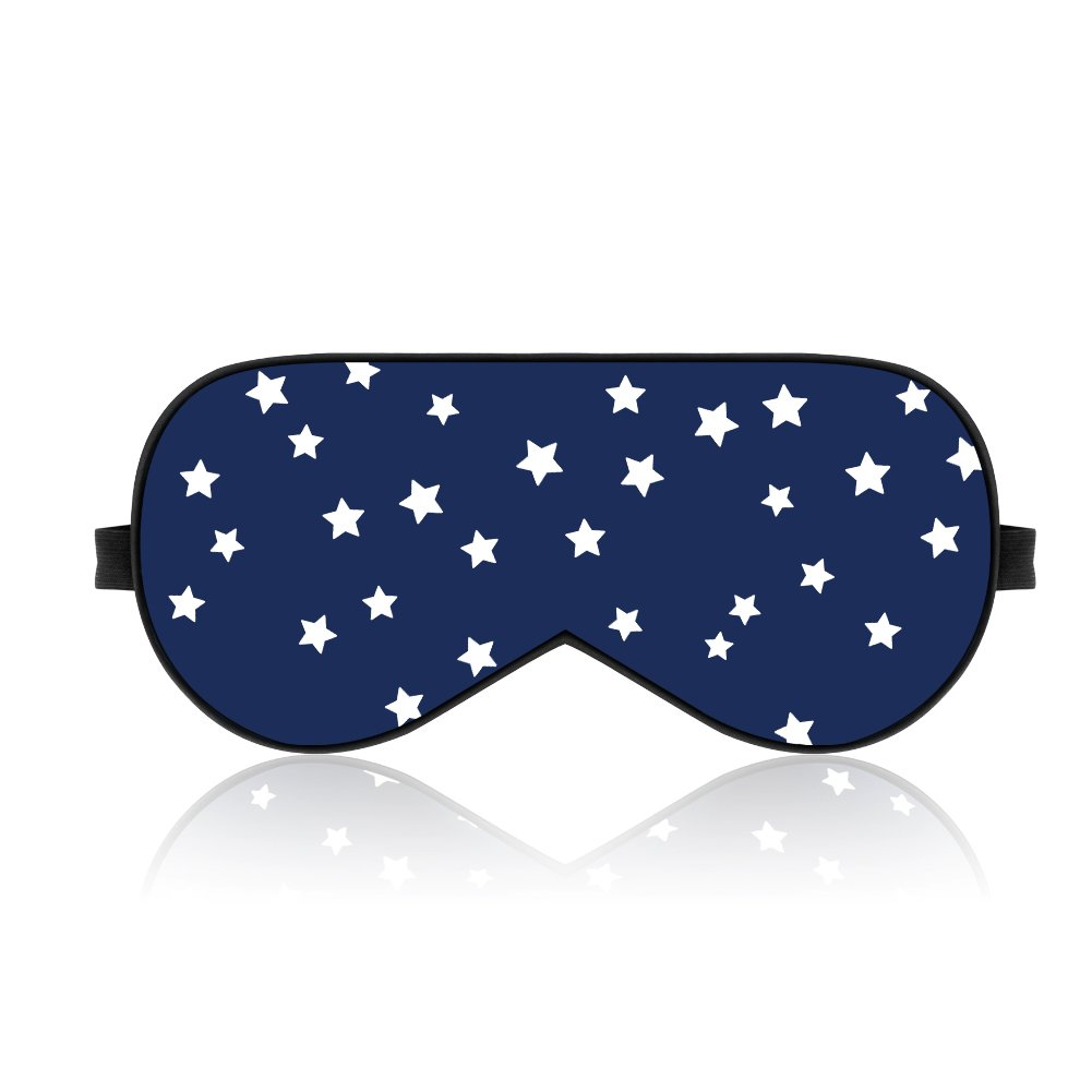 Lonfrote Stars Natural Silk Sleep Mask, Smooth Blindfold with Carry Pouch for Travel, Relax, Shift Workers, Super Soft Fabric (Blue)