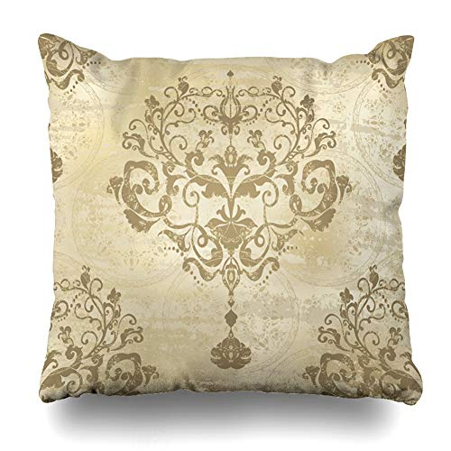 (AlliuCoo Throw Pillow Covers Bright Silver Modern Damask Floral Pattern Vintage Rococo Royal Antique Gold Baroque Old Design Home Decor Zippered Cushion Case Square Size 16