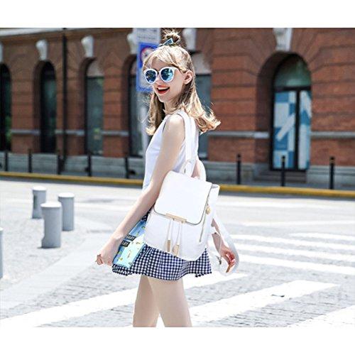 OULII Mode Schultertasche PU Satchel Casual Rucksack Reisetasche für Damen (weiß)