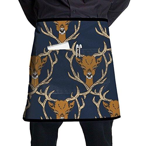 Kjiurhfyheuij Half Short Aprons Deer Unhappy Waist Apron With Pockets Kitchen Restaurant For Women Men Server ()