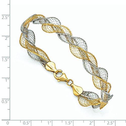 Or bicolore 14carats-Bracelet Texturé torsadée-18cm