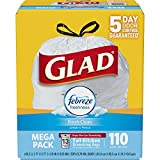 #4: Glad OdorShield Tall Kitchen Drawstring Trash Bags - Febreze Fresh Clean - 13 Gallon - 110 Count