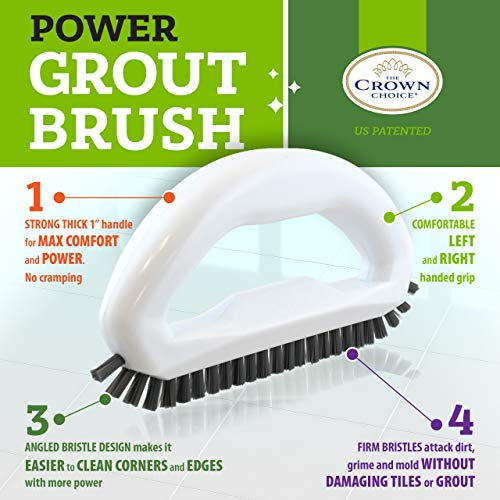 Grout Cleaner Brush with Stiff Angled Bristles. Scrub Brushes for Shower Cleaning, Scrubbing Floor Lines and Tile Joints | Bathroom, Showers, Tiles, Seams