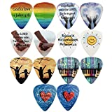 CLOUDMUSIC Guitar Picks LIVE IN FAITH Series For Christians 14PCS In Blue Zip Box Celluloid Medium For Acoustic Guitar Kids Guitar Ukulele Pick Bass Electric Guitar