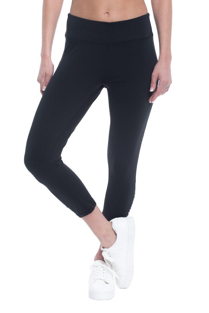 Gaiam Women's Capri Yoga Pants - Performance Spandex Compression Legging - Black Tap, X-Small