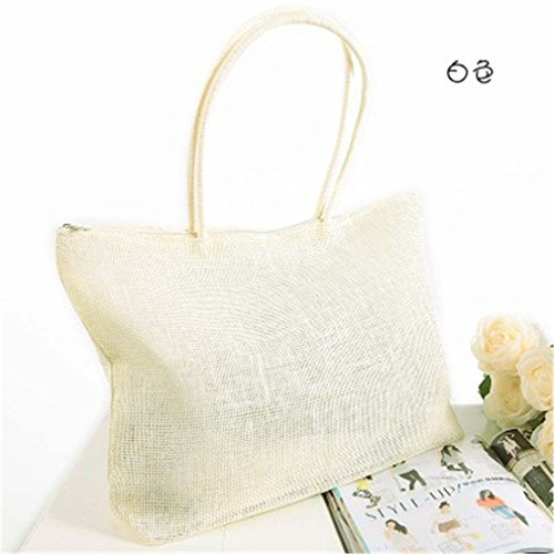Bag Weave Woven White Beach Purse Straw Shopping Handbag Tote Shoulder Amuele 1PnS6Ow