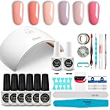 GirlyDream Gel Nail Polish Set Top Base Coat 6 Color Nail Polish SUN9C Plus 36W Fast Curing LED Nail Lamp Complete Manicure Tools New Starter Nail Art Tool Kit #006