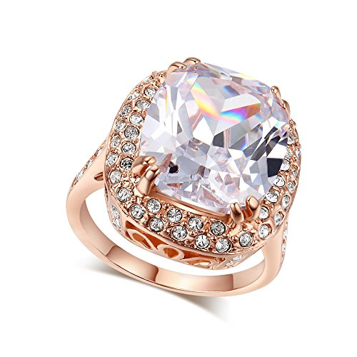 LAMOON Ruby Ring For Women Engagement Big Zircon CZ Stone 18KGP Vintage Statement Rings (R055, 5.5)