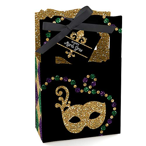 Mardi Gras - Masquerade Party Favor Boxes - Set of 12