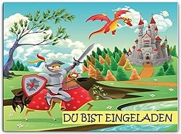 Ritter Einladungskarten Kindergeburtstag Mit Burg Und Drachen Einladung  Kinder Ritterparty Set Jungen Mädchen Ritterburg Jungs Drachen
