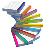 DEBRADALE DESIGNS - Color Bar Ruled Single Sided Index Cards - 3 x 5 Inches - White - 500 (50 each of 10 colors) - Wrapped in 2 packages of 250 - Standard 110# Index Card Stock - 199 GSM - .009 Thick