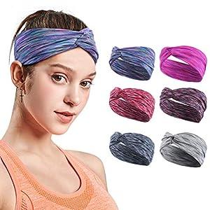 Headbands For Women, Yoga Running Sports Cotton Headbands Tie Dye Elastic Non Slip Sweat Headbands Workout Fashion Hair…