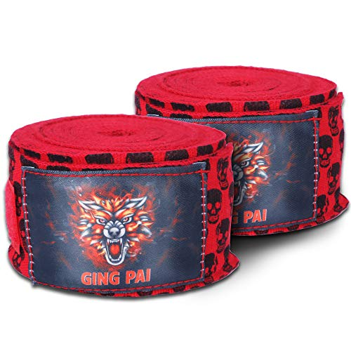 GINGPAI BOXING Hand Wraps 5M (Red),Elastic Hand & Wrist Support for Muay Thai Kickboxing Training Gym Workout or MMA for…