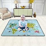 Cartoon Animals World Map Area Rug for Kids Educational Carpets Soft Non-Slip Boys Girls Baby Floor Mat for Playroom Bedroom Classroom 4' x 6'