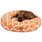 1 Piece Orange Trellis Pattern Dog Bed (Large), Elegant Geometric Print Pet Bedding For Puppies, Features Removable Cover, Water & Stain Resistant, Round Shape, Polyester