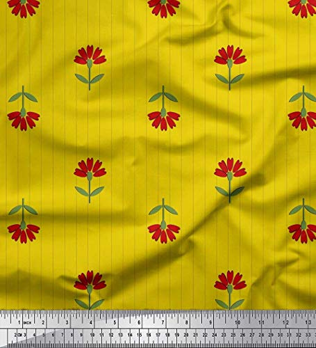(Soimoi Yellow Heavy Canvas Fabric Stripe,Leaves & Floral Artistic Printed Fabric 1 Yard 58 Inch Wide)