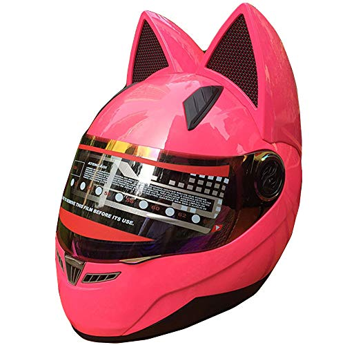Red Cool Cat Ear Motorcycle Helmet, Front Lens Locomotive Electric Car ATV Kart Scooter Balance Car Full Face Helmet, DOT Certification,M:53~55cm