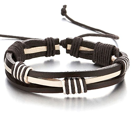 (COOLSTEELANDBEYOND Hand-Made Mens White and Black Braided Leather Bracelet Genuine Leather Wristband Wrap Bracelet)