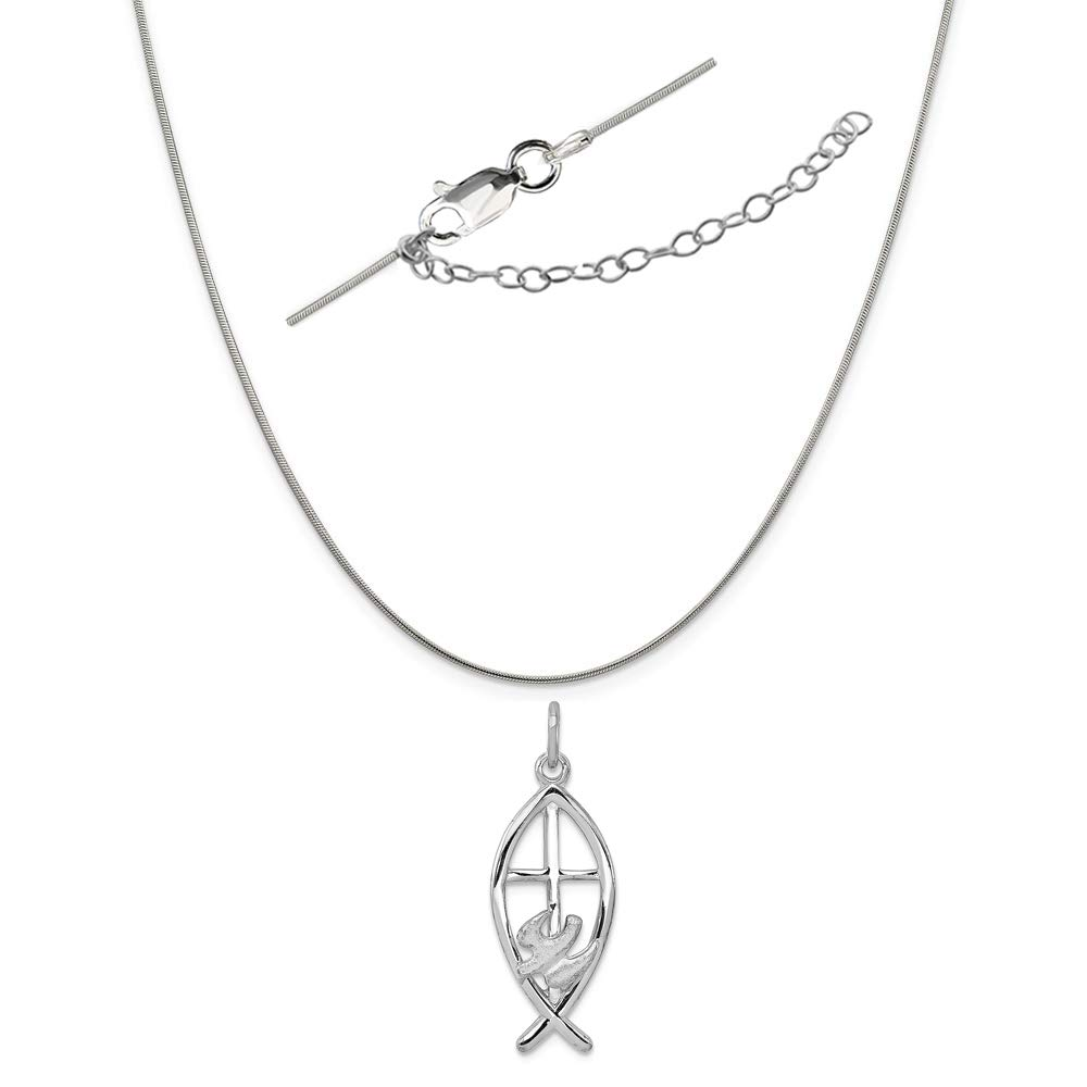 Sterling Silver Anti-Tarnish Treated Ichthus Fish Charm on an Adjustable Chain Necklace