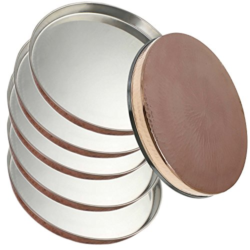 Service for 6 - Prisha India Craft Dinner Plate Thali Tableware Dinnerware for Indian Food and Dishes Stainless Steel Copperware Thali Set by Prisha India Craft