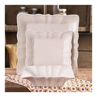 The Pioneer Woman 12-Piece Paige Square Dinnerware Set (LINEN)
