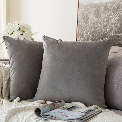 MIULEE Pack of 2, Velvet Soft Soild Decorative Square Throw Pillow Covers Set Cushion Cases Pillowcases for Sofa Bedroom Car18 x 18 Inch 45 x 45 cm