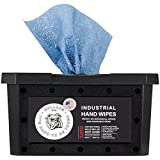 Bulldog Heavy-Duty Hand Wipes, Grease Wipes, Hand Cleaner Wipes, Cleaning Wipes, Paint Wipes, Industrial Cleaning Wipes, Waterless Hand Cleaner, Disinfecting Wipes 6 X 8 Inches   70 Wipes/Container