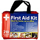 bulk buys OL377 First Aid Kit in Easy Access Carrying Case, Black/Red
