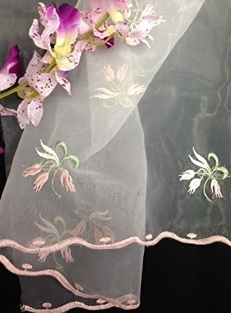 """2 Yards Organza Embroidered with Metallic Butterfly Flowers with Scallops 52/"""""""