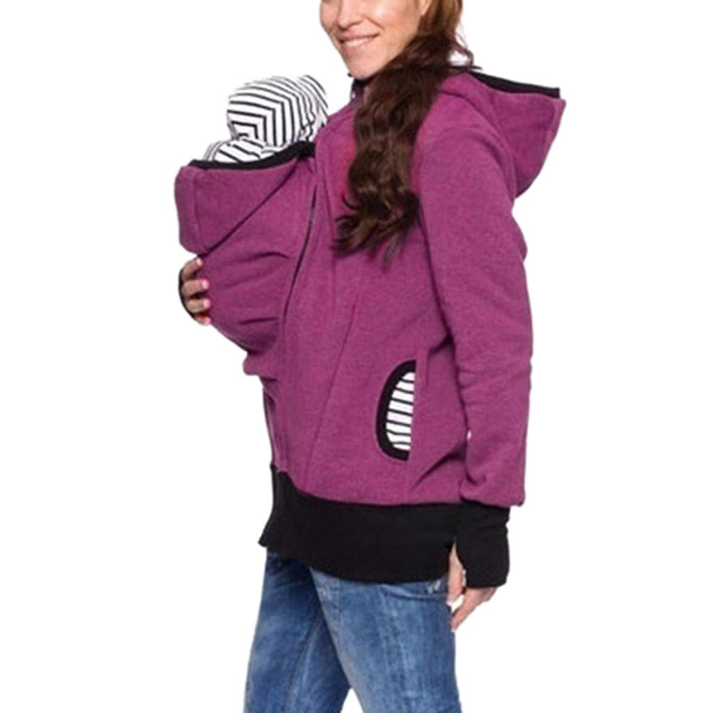 Kangaroo Hoodie Coat for Women Striped Mom and Baby Pouch Carrier Zipper Jacket Maternity Pregnancy Sweatshirt Coat Hot Pink by sheart 9